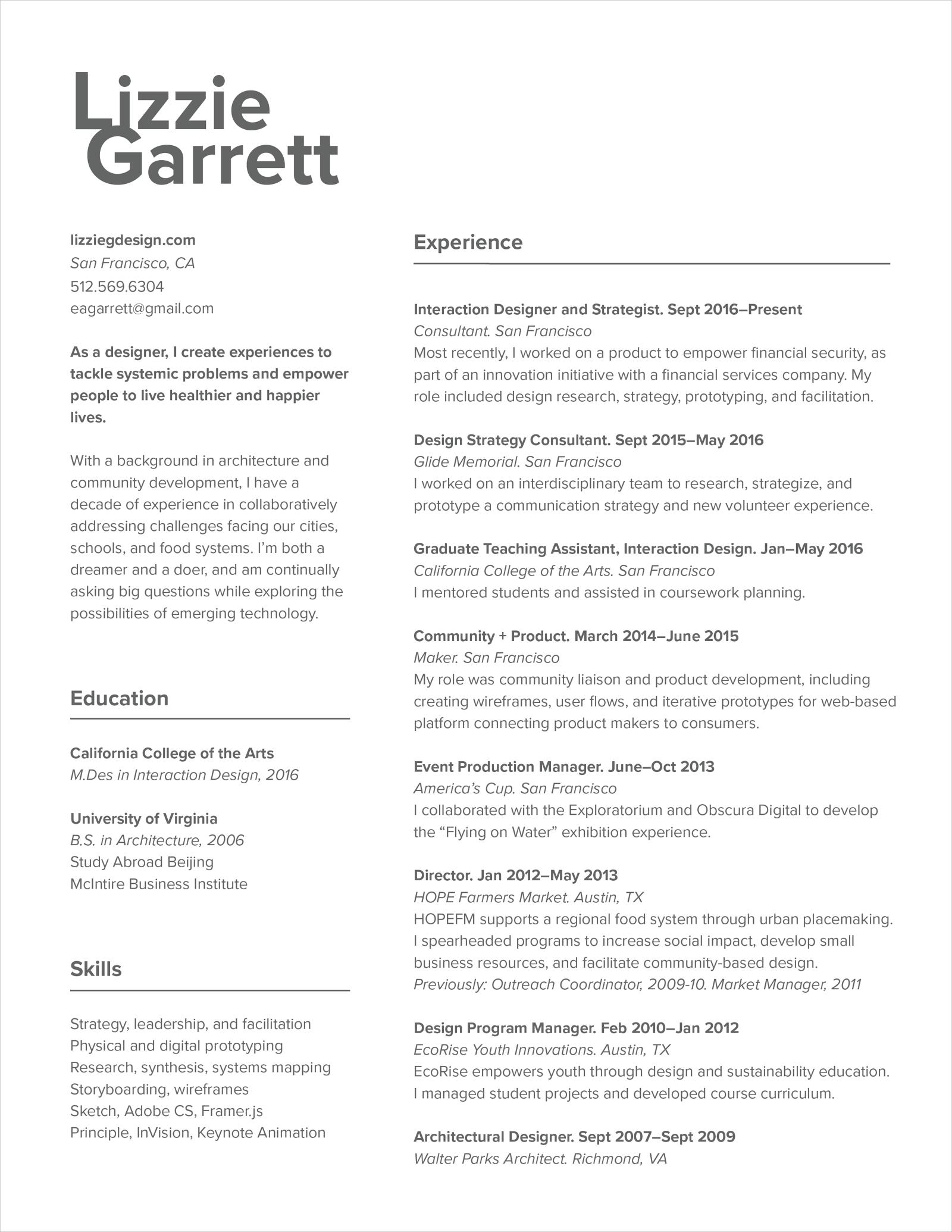Resume Lizzie Garrett